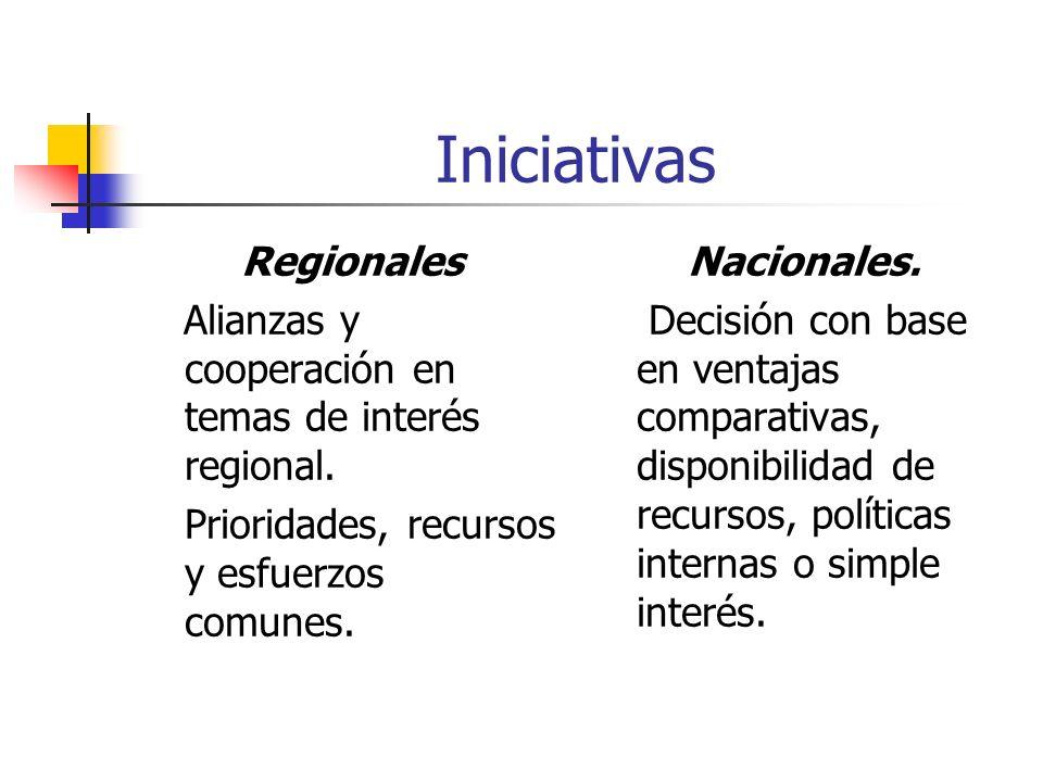 Iniciativas Regionales Alianzas y cooperación en temas de interés regional.