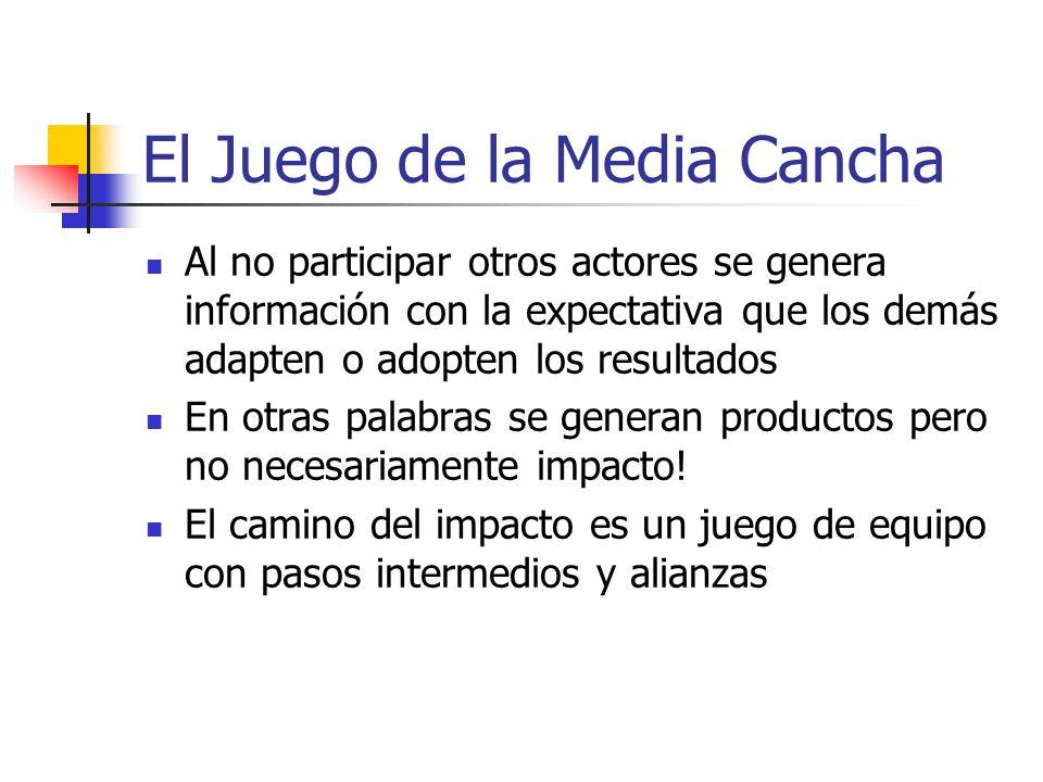El Juego de la Media Cancha Al no participar otros actores se genera información con la expectativa que los demás adapten o adopten los resultados En otras palabras se generan productos pero no necesariamente impacto.