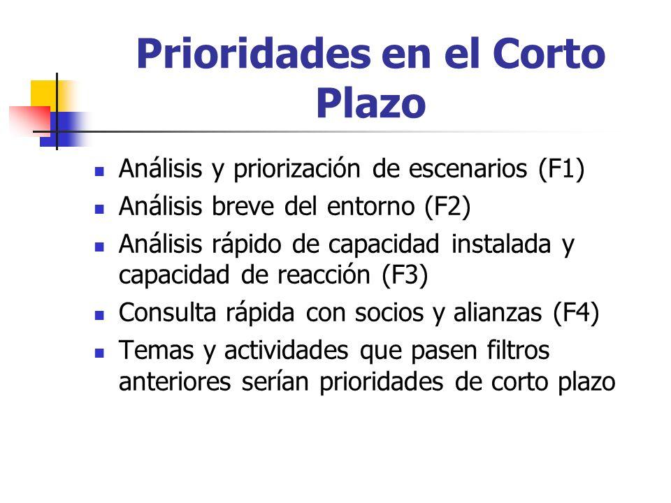 Prioridades en el Corto Plazo Análisis y priorización de escenarios (F1) Análisis breve del entorno (F2) Análisis rápido de capacidad instalada y capacidad de reacción (F3) Consulta rápida con socios y alianzas (F4) Temas y actividades que pasen filtros anteriores serían prioridades de corto plazo