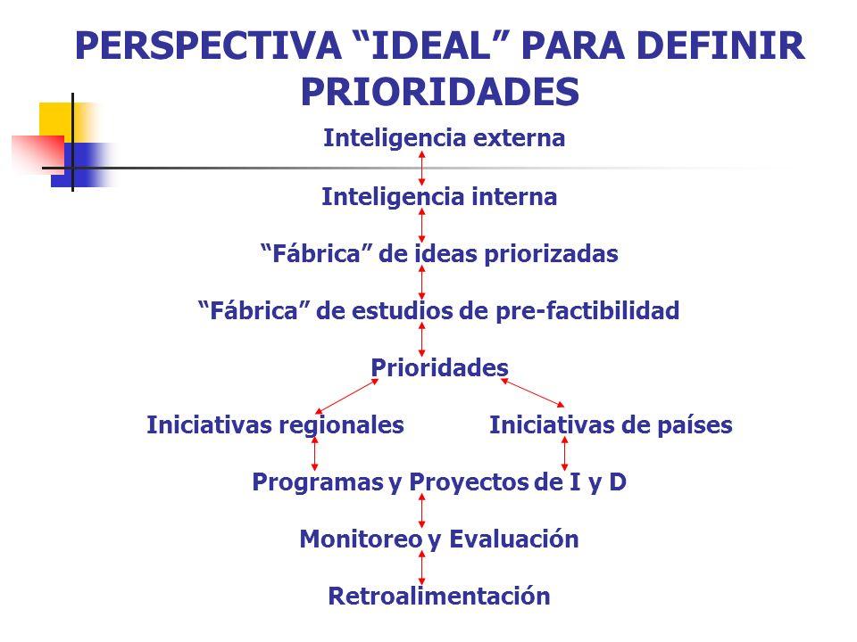 PERSPECTIVA IDEAL PARA DEFINIR PRIORIDADES Inteligencia externa Inteligencia interna Fábrica de ideas priorizadas Fábrica de estudios de pre-factibilidad Prioridades Iniciativas regionales Iniciativas de países Programas y Proyectos de I y D Monitoreo y Evaluación Retroalimentación