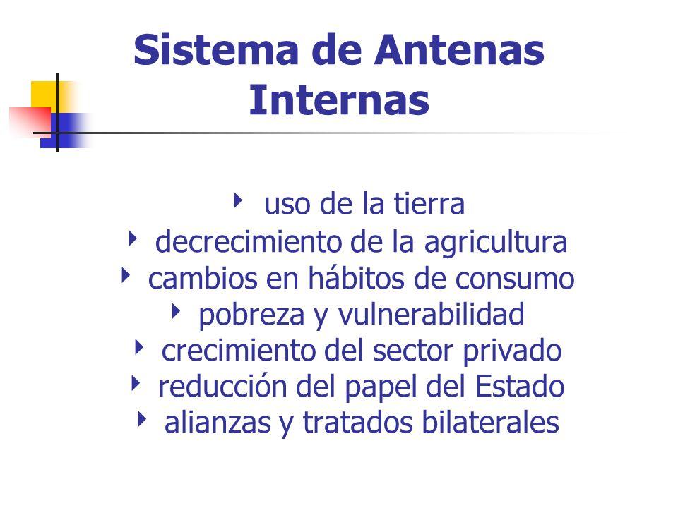 Sistema de Antenas Internas uso de la tierra decrecimiento de la agricultura cambios en hábitos de consumo pobreza y vulnerabilidad crecimiento del sector privado reducción del papel del Estado alianzas y tratados bilaterales