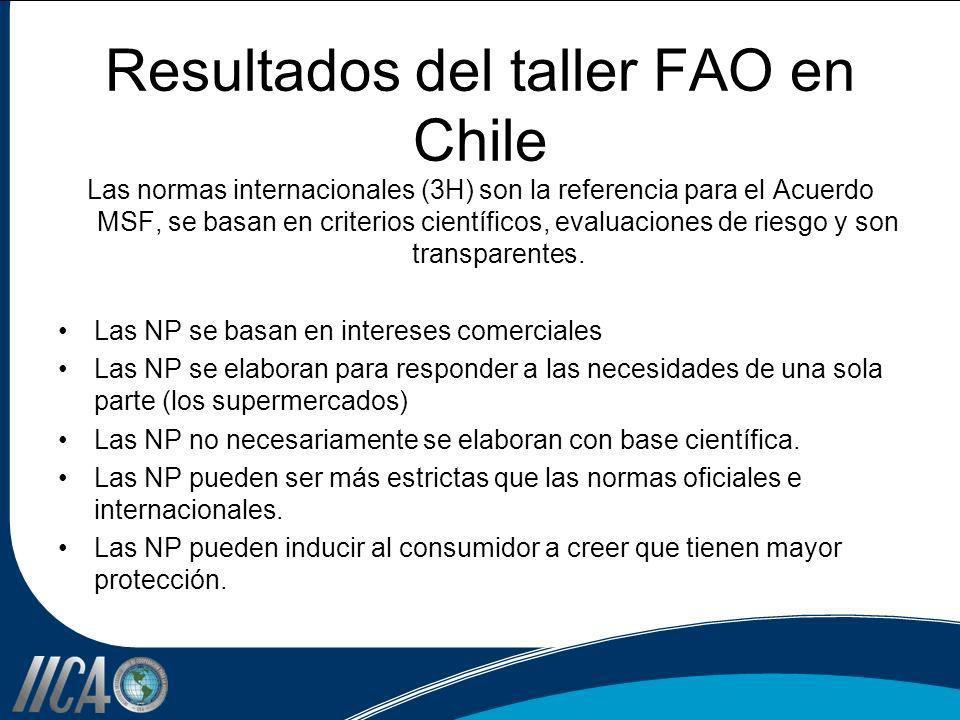 Resultados del taller FAO en Chile Las normas internacionales (3H) son la referencia para el Acuerdo MSF, se basan en criterios científicos, evaluacio