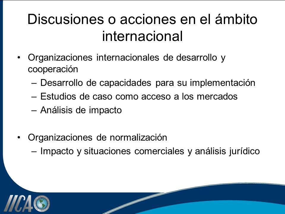Discusiones o acciones en el ámbito internacional Organizaciones internacionales de desarrollo y cooperación –Desarrollo de capacidades para su implem
