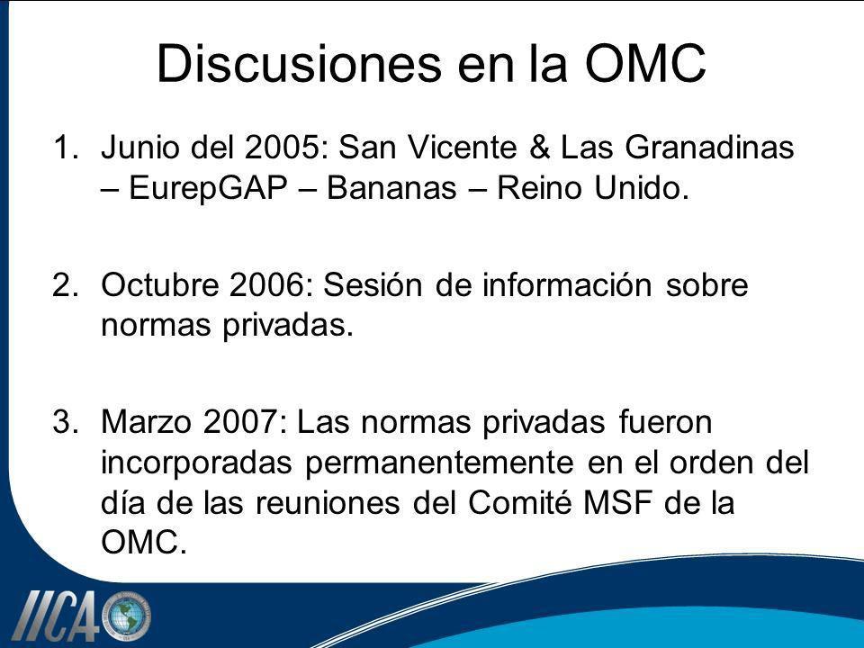Discusiones en la OMC 1.Junio del 2005: San Vicente & Las Granadinas – EurepGAP – Bananas – Reino Unido. 2.Octubre 2006: Sesión de información sobre n