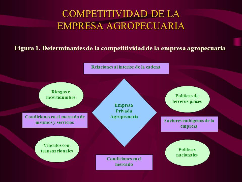 COMPETITIVIDAD DE LA EMPRESA AGROPECUARIA Figura 1. Determinantes de la competitividad de la empresa agropecuaria Empresa Privada Agropecuaria Riesgos