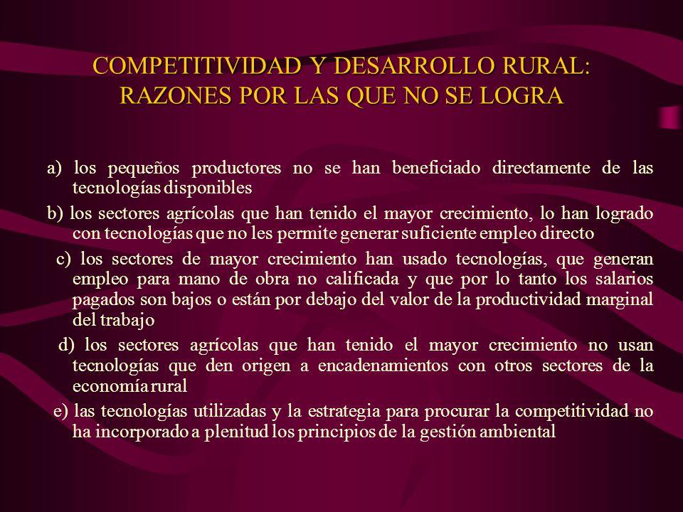 COMPETITIVIDAD Y DESARROLLO RURAL: RAZONES POR LAS QUE NO SE LOGRA a) los pequeños productores no se han beneficiado directamente de las tecnologías d