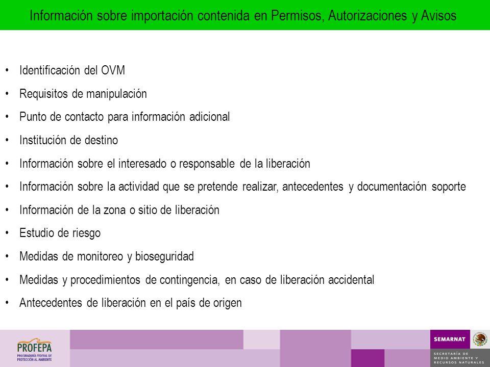 Identificación del OVM Requisitos de manipulación Punto de contacto para información adicional Institución de destino Información sobre el interesado