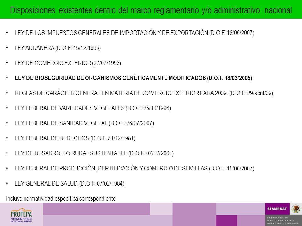 LEY DE LOS IMPUESTOS GENERALES DE IMPORTACIÓN Y DE EXPORTACIÓN (D.O.F. 18/06/2007) LEY ADUANERA (D.O.F. 15/12/1995) LEY DE COMERCIO EXTERIOR (27/07/19