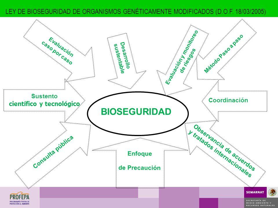 BIOSEGURIDAD Coordinación Observancia de acuerdos y tratados internacionales Consulta pública Sustento científico y tecnológico Evaluación caso por ca