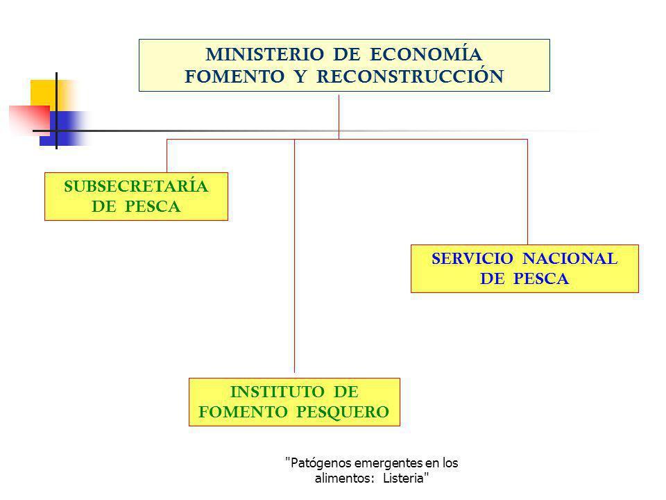 Patógenos emergentes en los alimentos: Listeria DEPARTAMENTO DE ADMINISTRACIÓN PESQUERA DEPARTAMENTO DE ADMINISTRACIÓN PESQUERA DEPARTAMENTO DE PESCA ARTESANAL DEPARTAMENTO DE PESCA ARTESANAL DEPARTAMENTO DE SANIDAD PESQUERA DEPARTAMENTO DEPARTAMENTO JURÍDICO DEPARTAMENTO ADMINISTRATIVO DEPARTAMENTO INFORMACIÓN ESTADÍSTICAS ESTADÍSTICAS PESQUERAS DEPARTAMENTO INFORMACIÓN ESTADÍSTICAS ESTADÍSTICAS PESQUERAS DEPARTAMENTO DE FISCALIZACIÓN PESQUERA DEPARTAMENTO DE FISCALIZACIÓN PESQUERA DIRECCIÓN NACIONAL DIRECCIONESREGIONALESDIRECCIONESREGIONALES OFICINASPROVINCIALESOFICINASPROVINCIALES UNIDAD DE DESARROLLO DE LAS PERSONAS UNIDAD DE ACUICULTURA ESTRUCTURA INSTITUCIONAL DEL SERVICIO NACIONAL DE PESCA