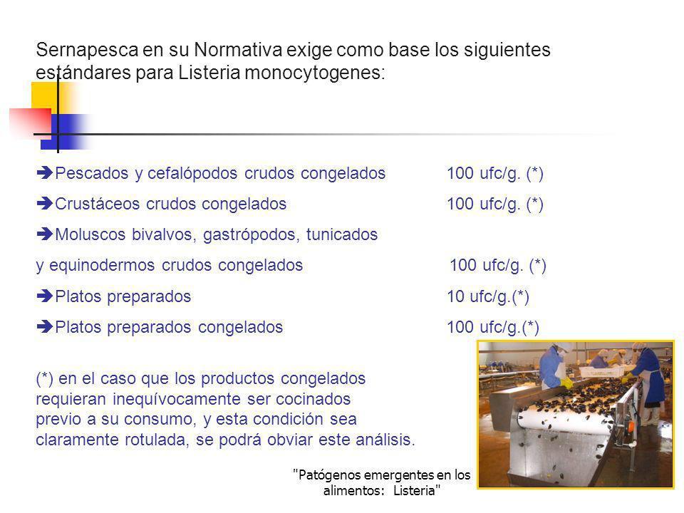 Patógenos emergentes en los alimentos: Listeria Pescados y cefalópodos cocidos congelados100 ufc/g.