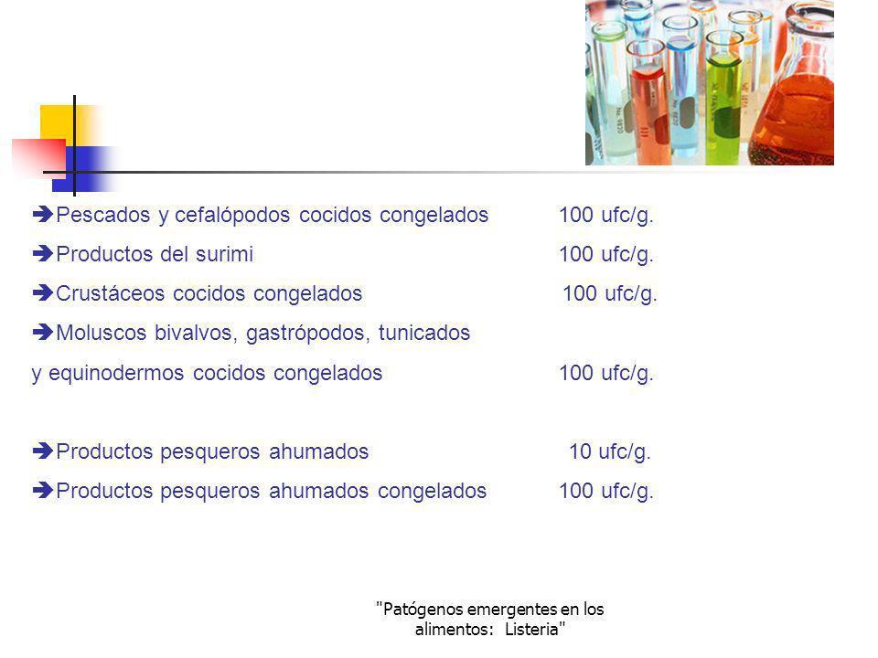 Patógenos emergentes en los alimentos: Listeria REGLAMENTO (CE) Nº 2073/2005 Este reglamento indica los criterios microbiológicos aplicables a los productos alimenticios Listeria monocytogenes Alimentos listos para el consumo que pueden favorecer el desarrollo de Listeria monocytogenes, que no sean destinados a los lactantes ni para usos médicos especiales 100 ufc/g.