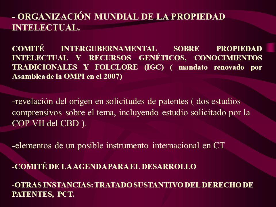 - ORGANIZACIÓN MUNDIAL DE LA PROPIEDAD INTELECTUAL. COMITÉ INTERGUBERNAMENTAL SOBRE PROPIEDAD INTELECTUAL Y RECURSOS GENÉTICOS, CONOCIMIENTOS TRADICIO
