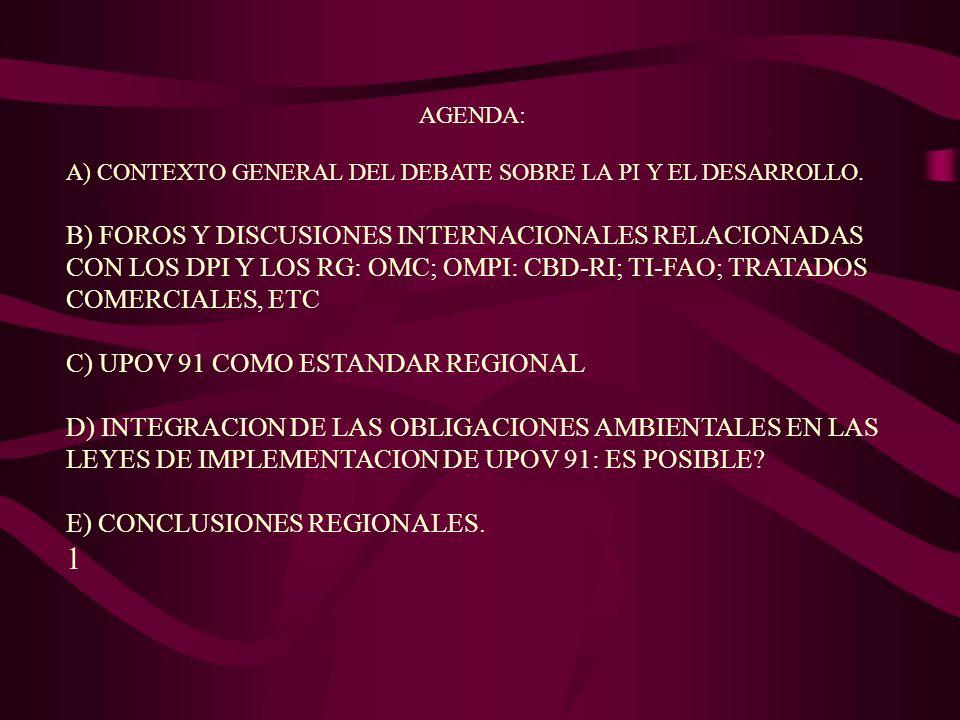 AGENDA: A) CONTEXTO GENERAL DEL DEBATE SOBRE LA PI Y EL DESARROLLO. B) FOROS Y DISCUSIONES INTERNACIONALES RELACIONADAS CON LOS DPI Y LOS RG: OMC; OMP