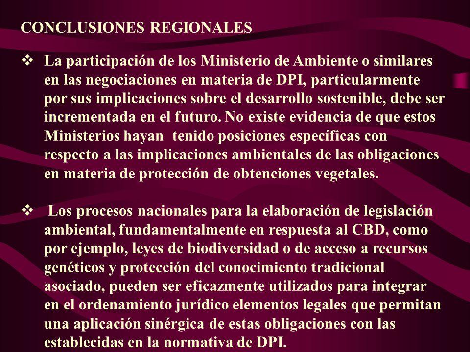 CONCLUSIONES REGIONALES La participación de los Ministerio de Ambiente o similares en las negociaciones en materia de DPI, particularmente por sus imp