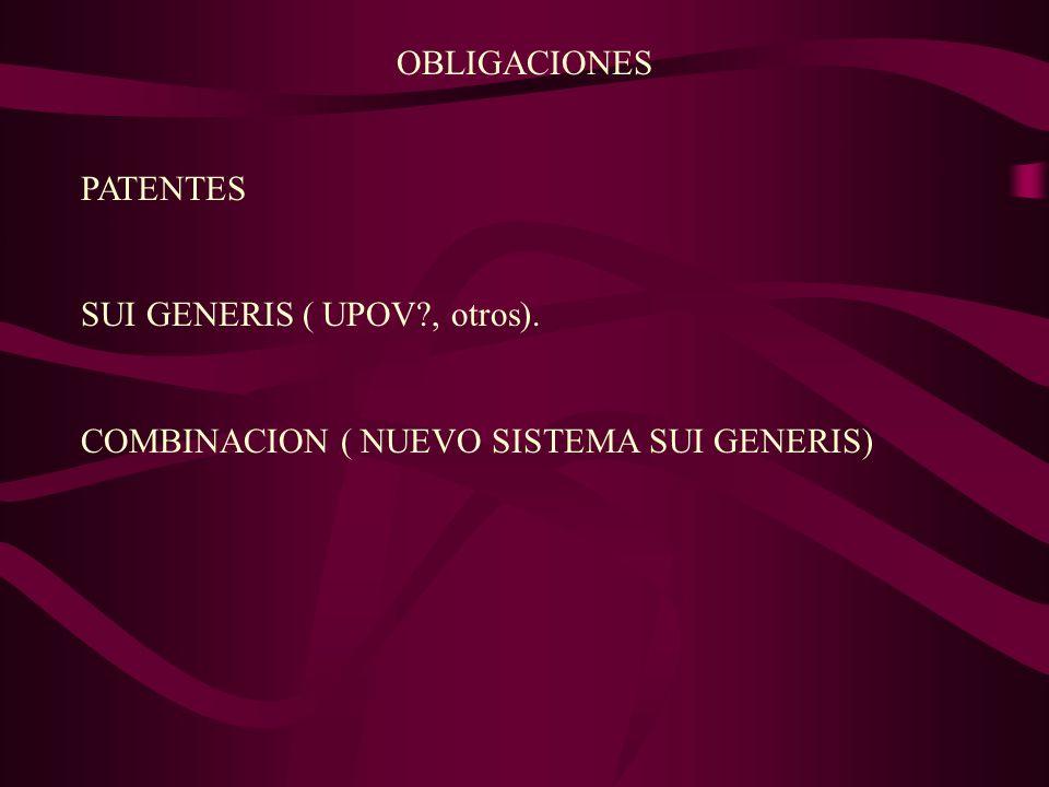 OBLIGACIONES PATENTES SUI GENERIS ( UPOV?, otros). COMBINACION ( NUEVO SISTEMA SUI GENERIS)