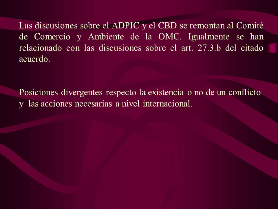 La Declaración de Doha que lanza la actual Ronda de Negociaciones Comerciales ( párrafo 19) específicamente encomienda al Consejo del ADPIC que al llevar adelante su programa de trabajo, incluso en el marco del examen previsto en el párrafo 3 b) del artículo 27, del examen de la aplicación del Acuerdo sobre los ADPIC previsto en el párrafo 1 del artículo 71 y de la labor prevista en cumplimiento del párrafo 12 de la Declaración, examine entre otras cosas, la relación entre el Acuerdo de los ADPIC y el Convenio sobre la Diversidad Biológica, la protección de los conocimientos tradicionales y el folklore, y otros nuevos acontecimientos pertinentes señalados por los Miembros de conformidad con el párrafo 1 del artículo 71.