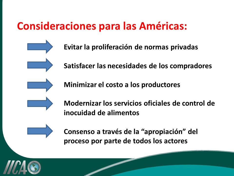 Consideraciones para las Américas: Evitar la proliferación de normas privadas Satisfacer las necesidades de los compradores Minimizar el costo a los productores Modernizar los servicios oficiales de control de inocuidad de alimentos Consenso a través de la apropiación del proceso por parte de todos los actores
