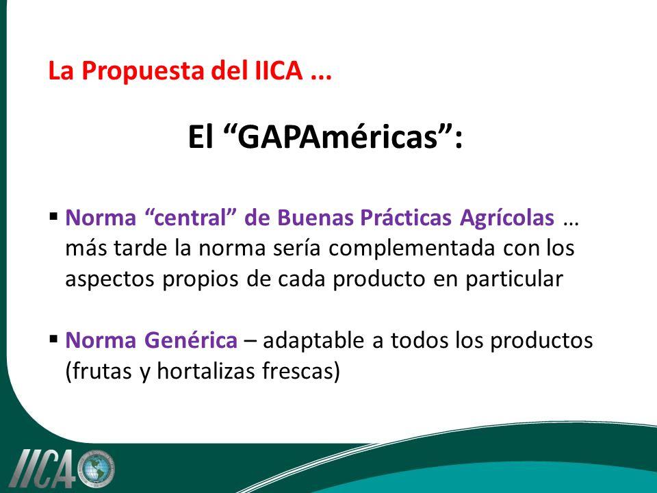 La Propuesta del IICA... El GAPAméricas: Norma central de Buenas Prácticas Agrícolas … más tarde la norma sería complementada con los aspectos propios