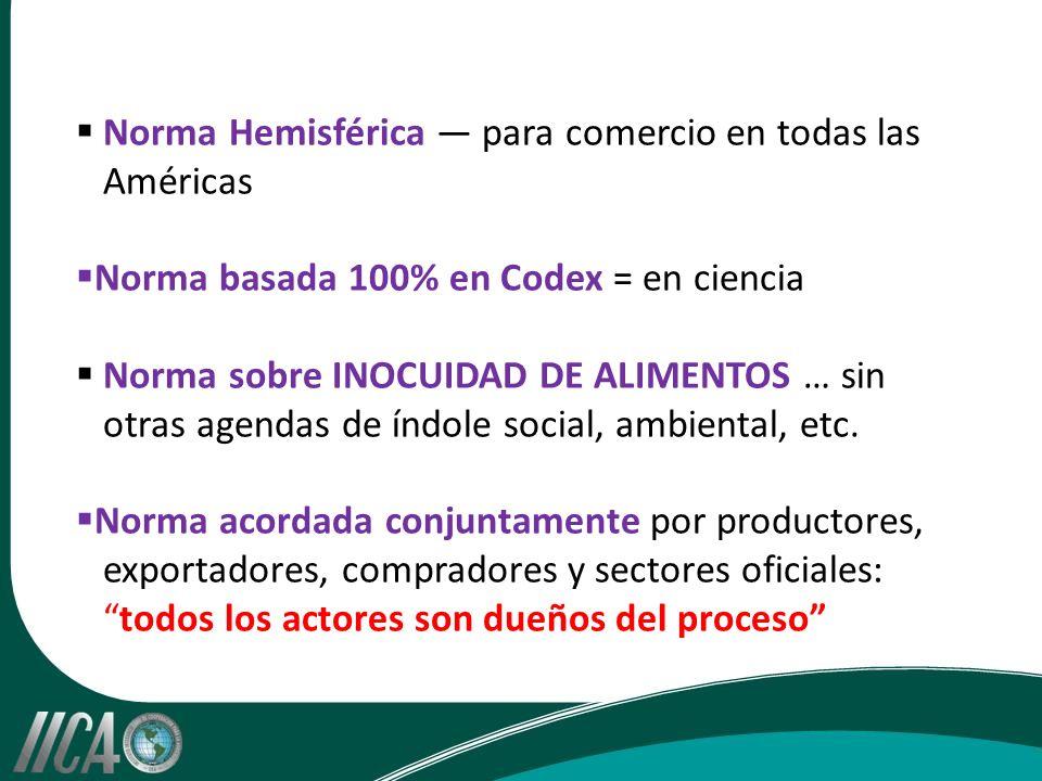 Norma Hemisférica para comercio en todas las Américas Norma basada 100% en Codex = en ciencia Norma sobre INOCUIDAD DE ALIMENTOS … sin otras agendas de índole social, ambiental, etc.