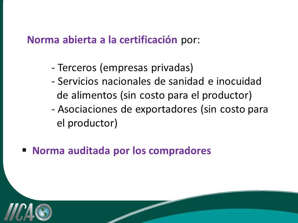 Norma abierta a la certificación por: - Terceros (empresas privadas) - Servicios nacionales de sanidad e inocuidad de alimentos (sin costo para el productor) - Asociaciones de exportadores (sin costo para el productor) Norma auditada por los compradores