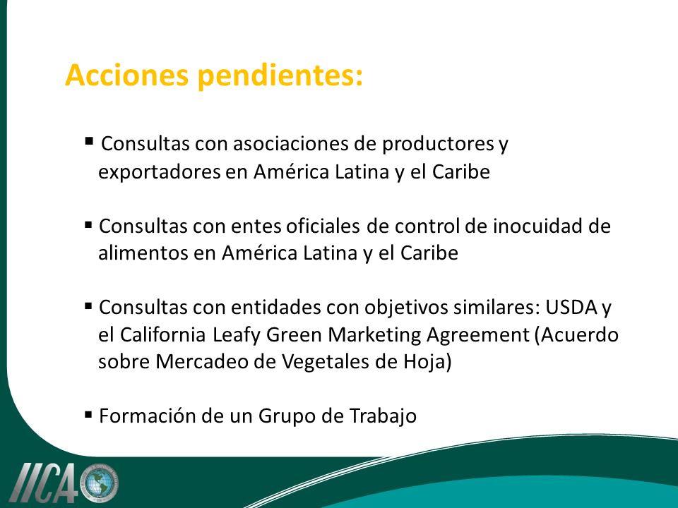 Acciones pendientes: Consultas con asociaciones de productores y exportadores en América Latina y el Caribe Consultas con entes oficiales de control de inocuidad de alimentos en América Latina y el Caribe Consultas con entidades con objetivos similares: USDA y el California Leafy Green Marketing Agreement (Acuerdo sobre Mercadeo de Vegetales de Hoja) Formación de un Grupo de Trabajo