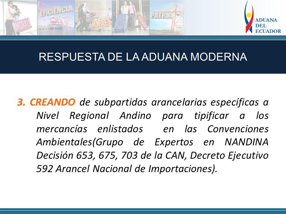 3. CREANDO de subpartidas arancelarias específicas a Nivel Regional Andino para tipificar a los mercancías enlistados en las Convenciones Ambientales(