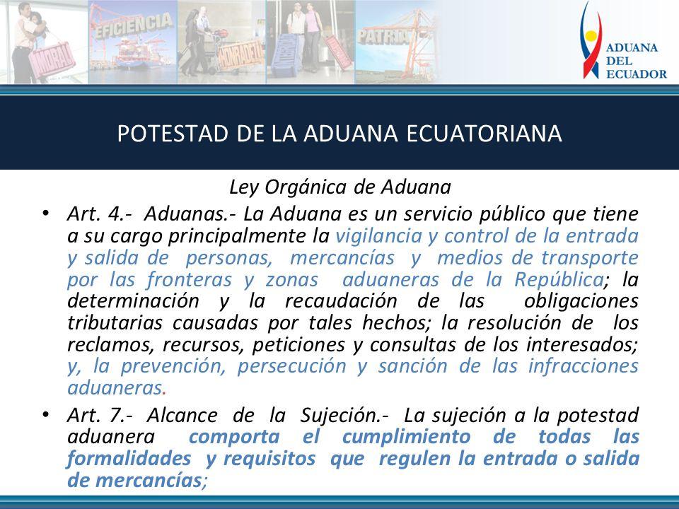 Ley Orgánica de Aduana Art. 4.- Aduanas.- La Aduana es un servicio público que tiene a su cargo principalmente la vigilancia y control de la entrada y