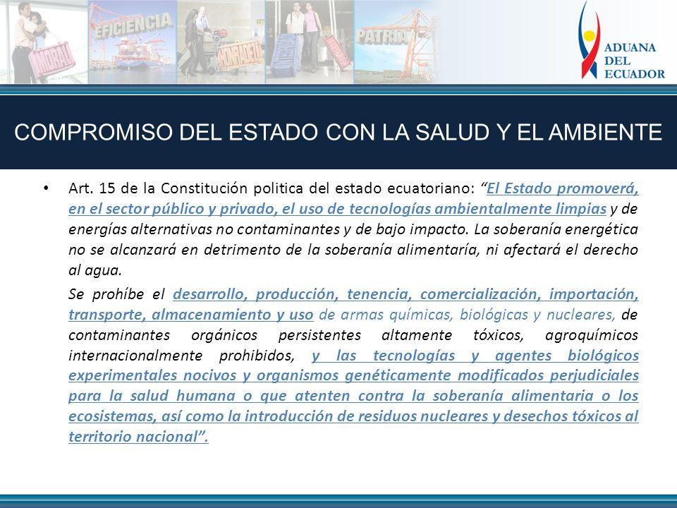 Art. 15 de la Constitución politica del estado ecuatoriano: El Estado promoverá, en el sector público y privado, el uso de tecnologías ambientalmente