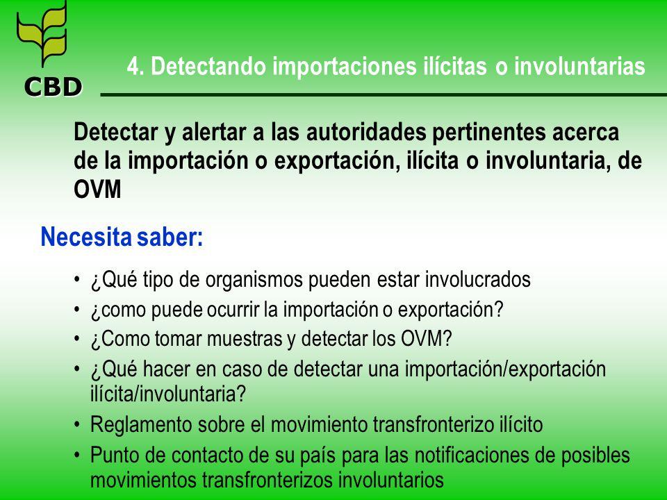 CBD 4. Detectando importaciones ilícitas o involuntarias Detectar y alertar a las autoridades pertinentes acerca de la importación o exportación, ilíc