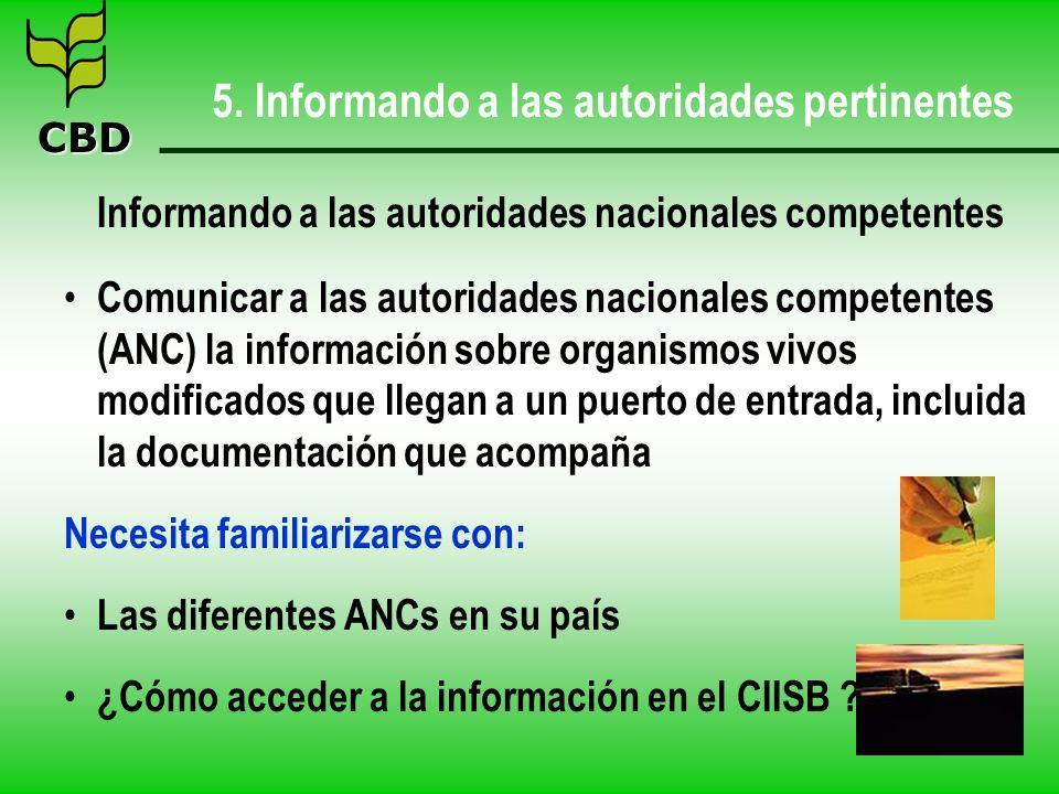 CBD 5. Informando a las autoridades pertinentes Informando a las autoridades nacionales competentes Comunicar a las autoridades nacionales competentes
