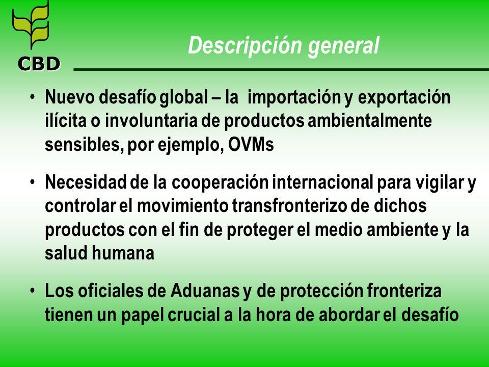 CBD Descripción general Nuevo desafío global – la importación y exportación ilícita o involuntaria de productos ambientalmente sensibles, por ejemplo,