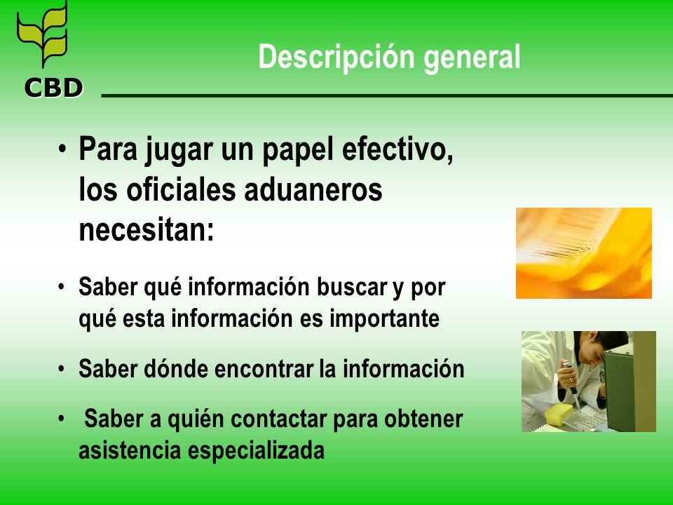 CBD Descripción general Para jugar un papel efectivo, los oficiales aduaneros necesitan: Saber qué información buscar y por qué esta información es im