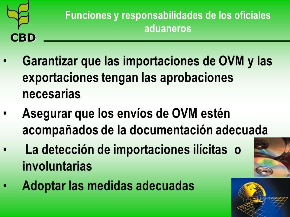 CBD Funciones y responsabilidades de los oficiales aduaneros Garantizar que las importaciones de OVM y las exportaciones tengan las aprobaciones neces