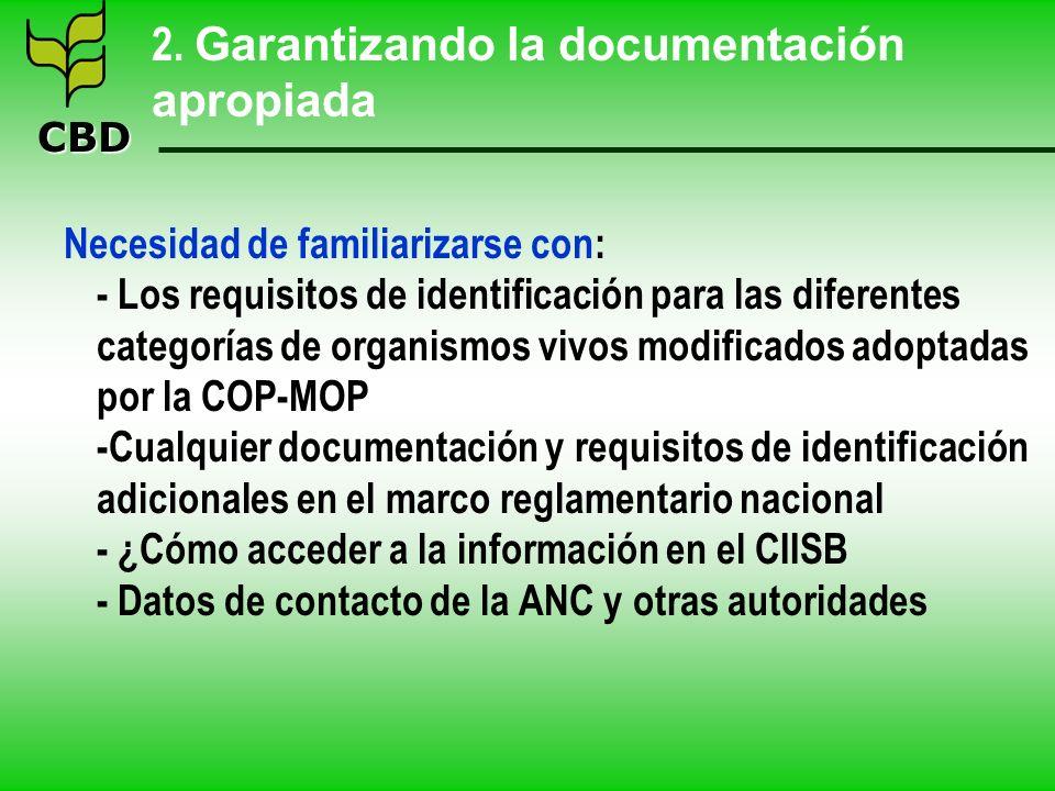 CBD 2. Garantizando la documentación apropiada Necesidad de familiarizarse con: - Los requisitos de identificación para las diferentes categorías de o