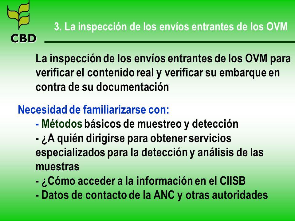 CBD 3. La inspección de los envíos entrantes de los OVM La inspección de los envíos entrantes de los OVM para verificar el contenido real y verificar