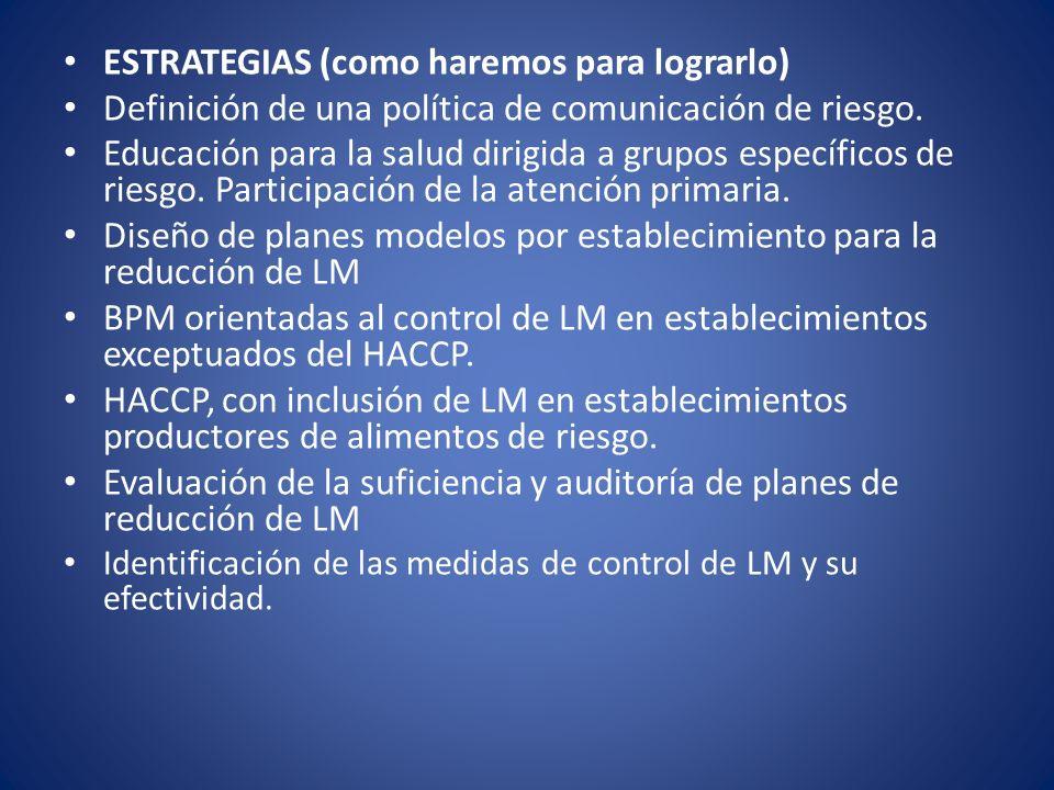 ESTRATEGIAS (como haremos para lograrlo) Definición de una política de comunicación de riesgo. Educación para la salud dirigida a grupos específicos d