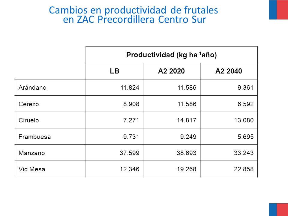 Cambios en productividad de frutales en ZAC Precordillera Centro Sur Productividad (kg ha -1 año) LBA2 2020A2 2040 Arándano11.82411.5869.361 Cerezo8.9