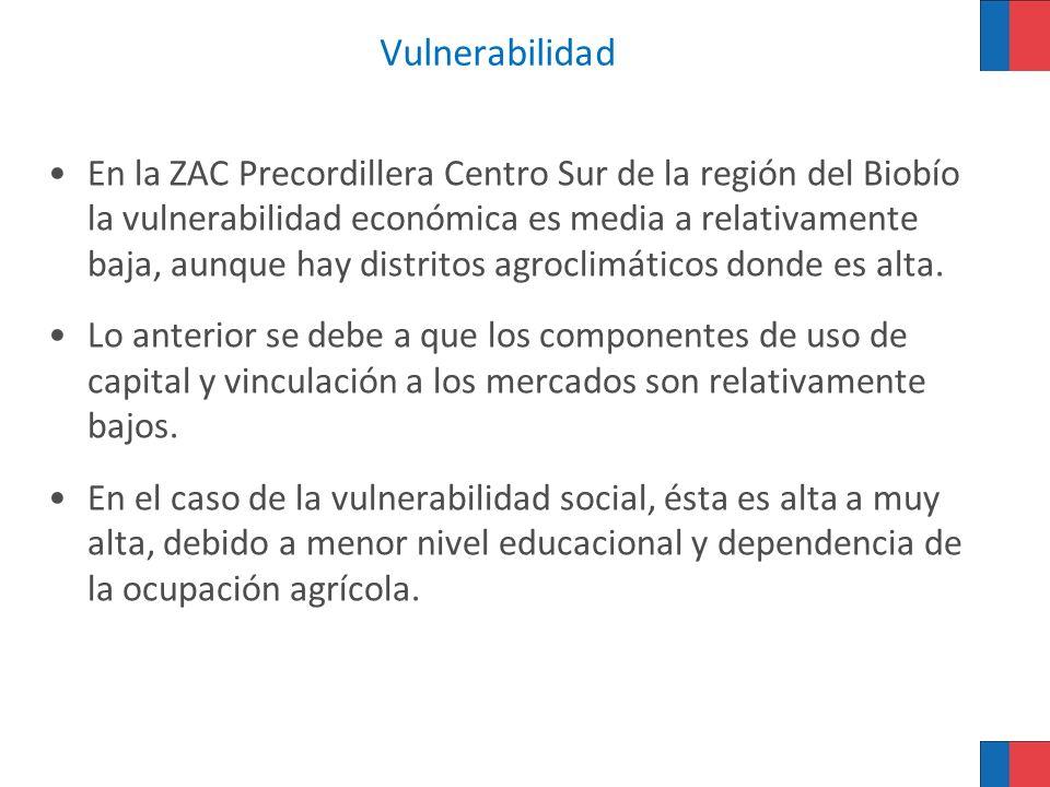 Vulnerabilidad En la ZAC Precordillera Centro Sur de la región del Biobío la vulnerabilidad económica es media a relativamente baja, aunque hay distri