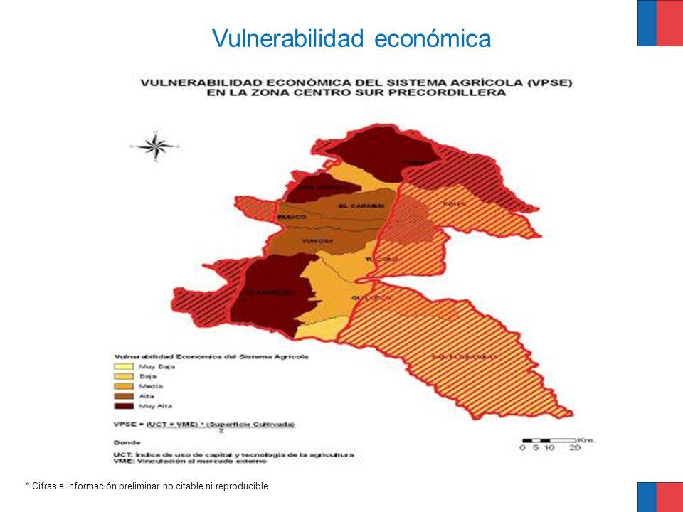* Cifras e información preliminar no citable ni reproducible Vulnerabilidad económica