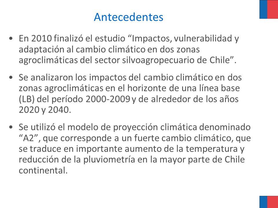 Antecedentes En 2010 finalizó el estudio Impactos, vulnerabilidad y adaptación al cambio climático en dos zonas agroclimáticas del sector silvoagropec