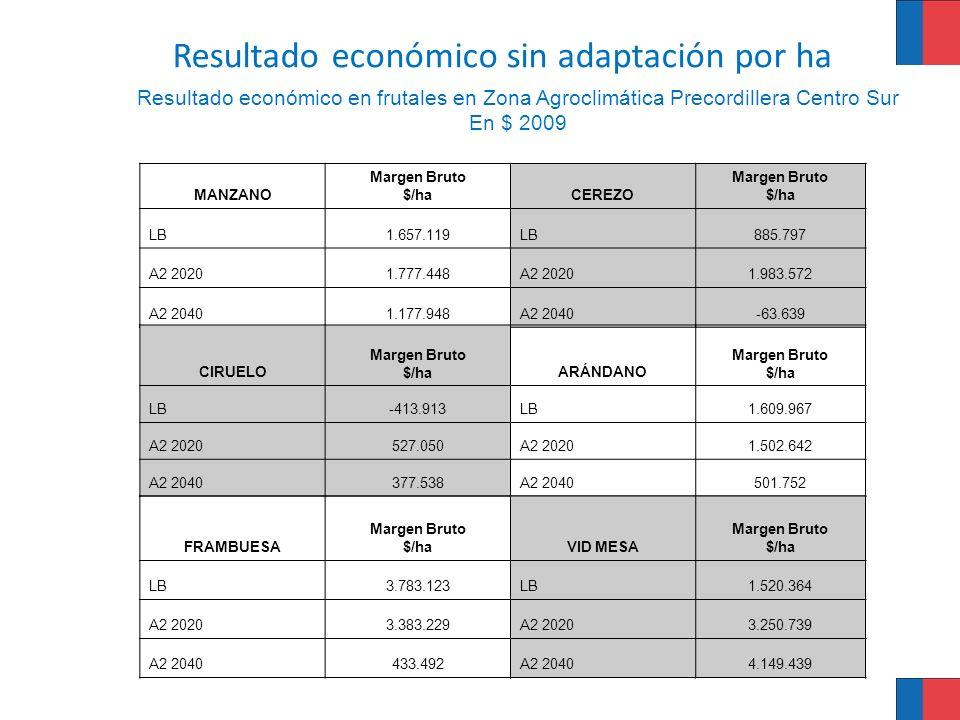 Resultado económico en frutales en Zona Agroclimática Precordillera Centro Sur En $ 2009 MANZANO Margen Bruto $/haCEREZO Margen Bruto $/ha LB1.657.119