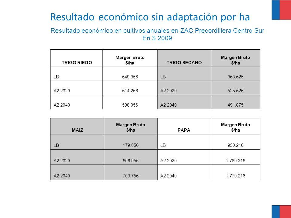 Resultado económico en cultivos anuales en ZAC Precordillera Centro Sur En $ 2009 TRIGO RIEGO Margen Bruto $/haTRIGO SECANO Margen Bruto $/ha LB649.35