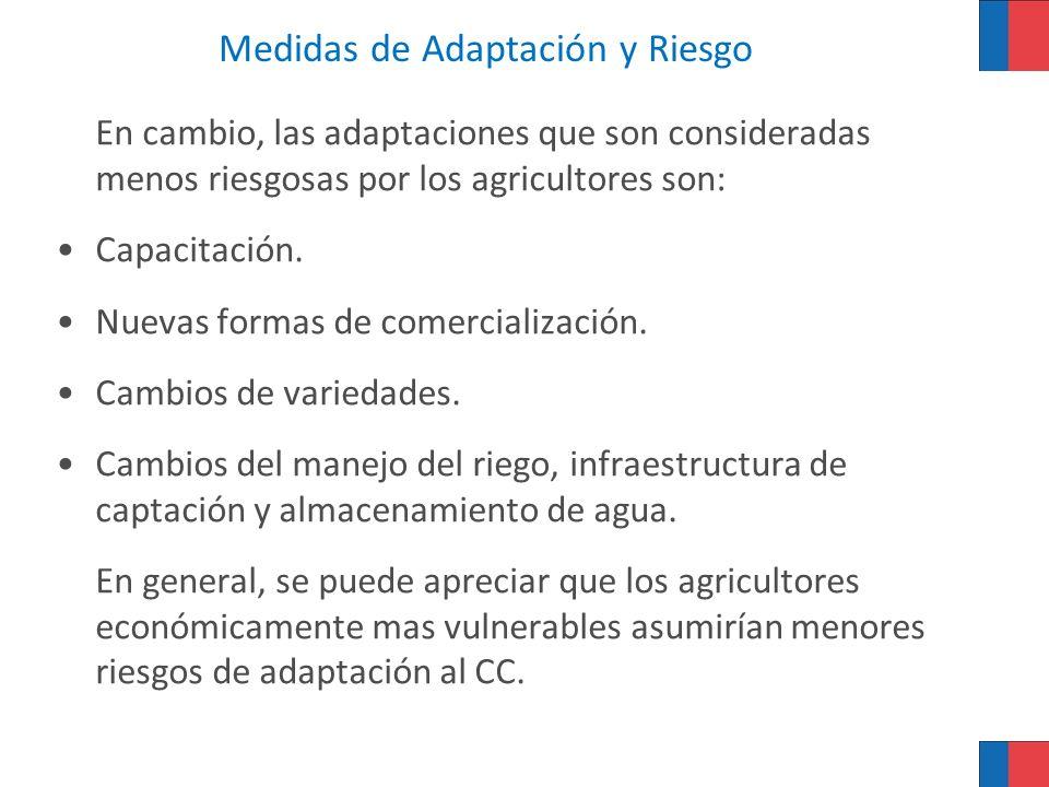 Medidas de Adaptación y Riesgo En cambio, las adaptaciones que son consideradas menos riesgosas por los agricultores son: Capacitación. Nuevas formas