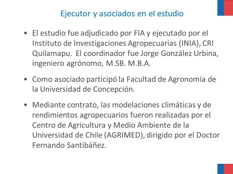 Ejecutor y asociados en el estudio El estudio fue adjudicado por FIA y ejecutado por el Instituto de Investigaciones Agropecuarias (INIA), CRI Quilama