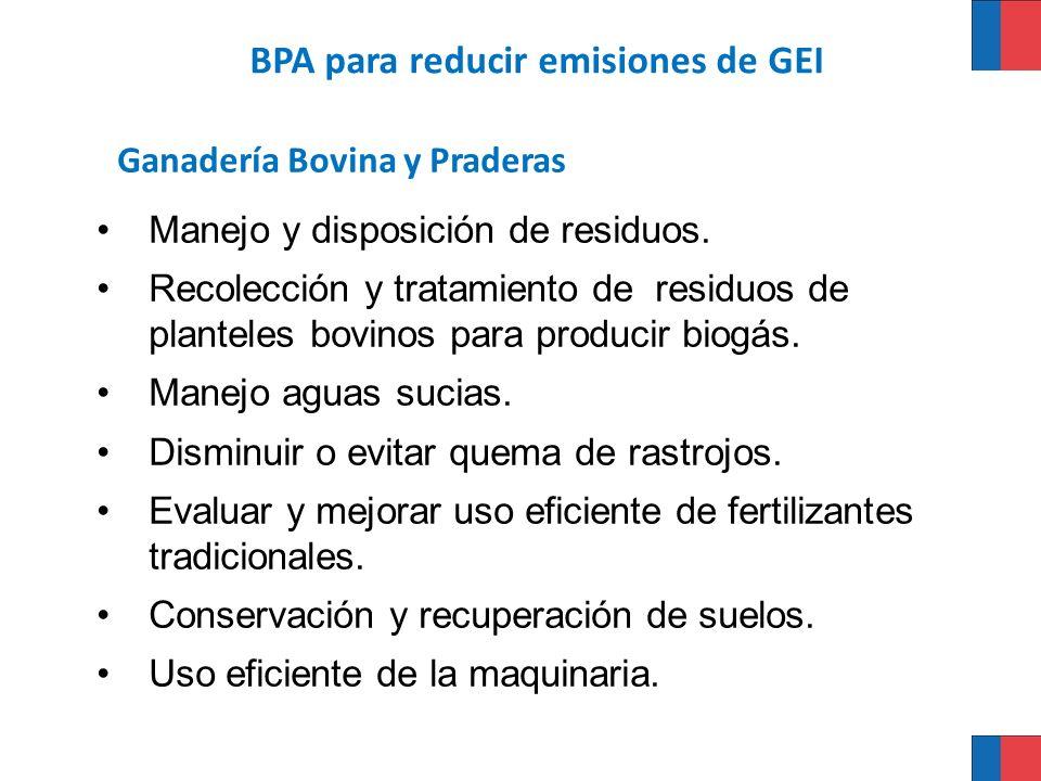 Ganadería Bovina y Praderas Manejo y disposición de residuos. Recolección y tratamiento de residuos de planteles bovinos para producir biogás. Manejo