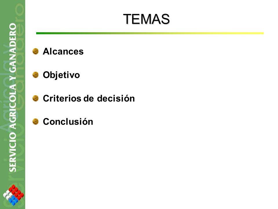 TEMAS Alcances Objetivo Criterios de decisión Conclusión