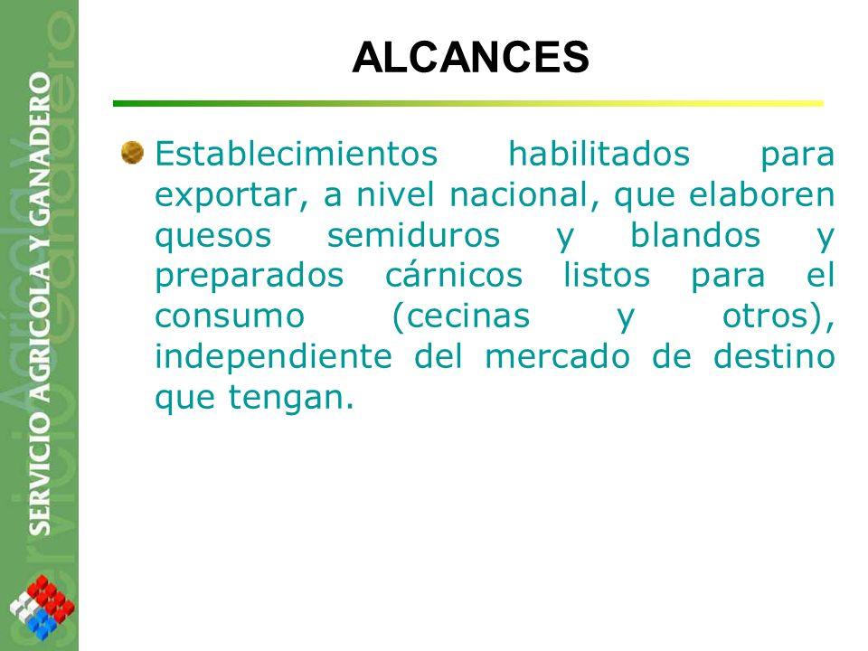 ALCANCES Establecimientos habilitados para exportar, a nivel nacional, que elaboren quesos semiduros y blandos y preparados cárnicos listos para el co