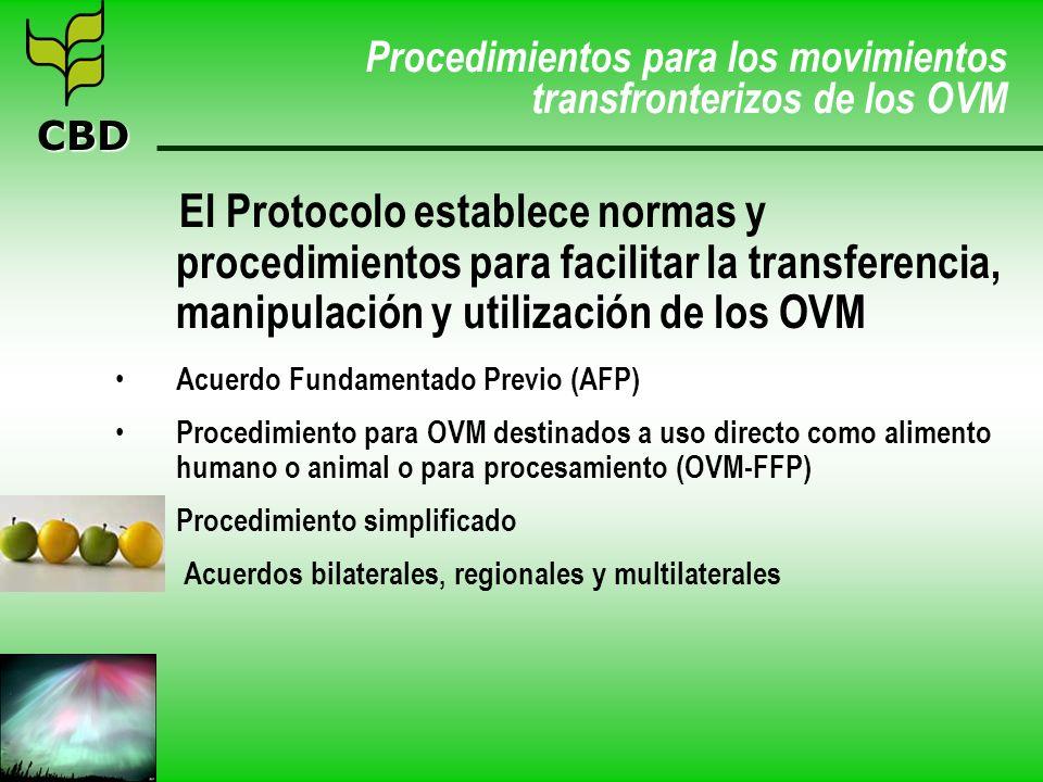 CBD Procedimientos para los movimientos transfronterizos de los OVM El Protocolo establece normas y procedimientos para facilitar la transferencia, ma