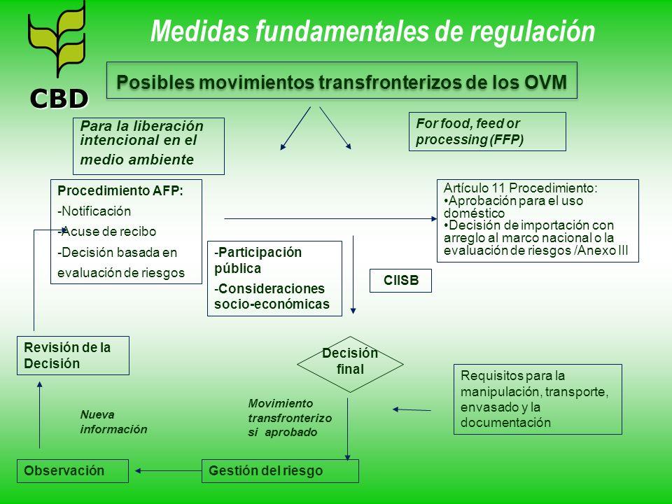 Procedimiento AFP: -Notificación -Acuse de recibo -Decisión basada en evaluación de riesgos Posibles movimientos transfronterizos de los OVM Artículo